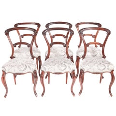 Quality Set of Six Victorian Carved Rosewood Dining Chairs