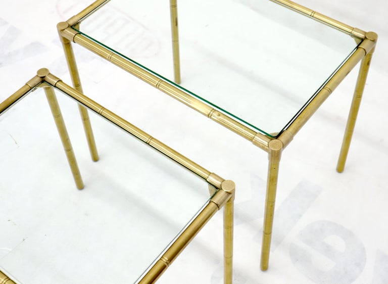 Quality Solid Brass Faux Bamboo Italian Mid Modern Nesting Tables For Sale 5