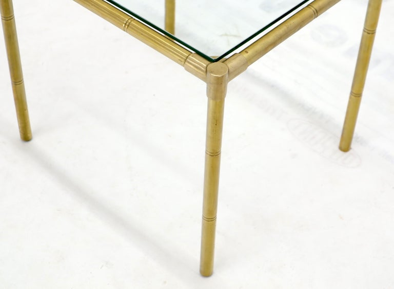 Quality Solid Brass Faux Bamboo Italian Mid Modern Nesting Tables For Sale 6