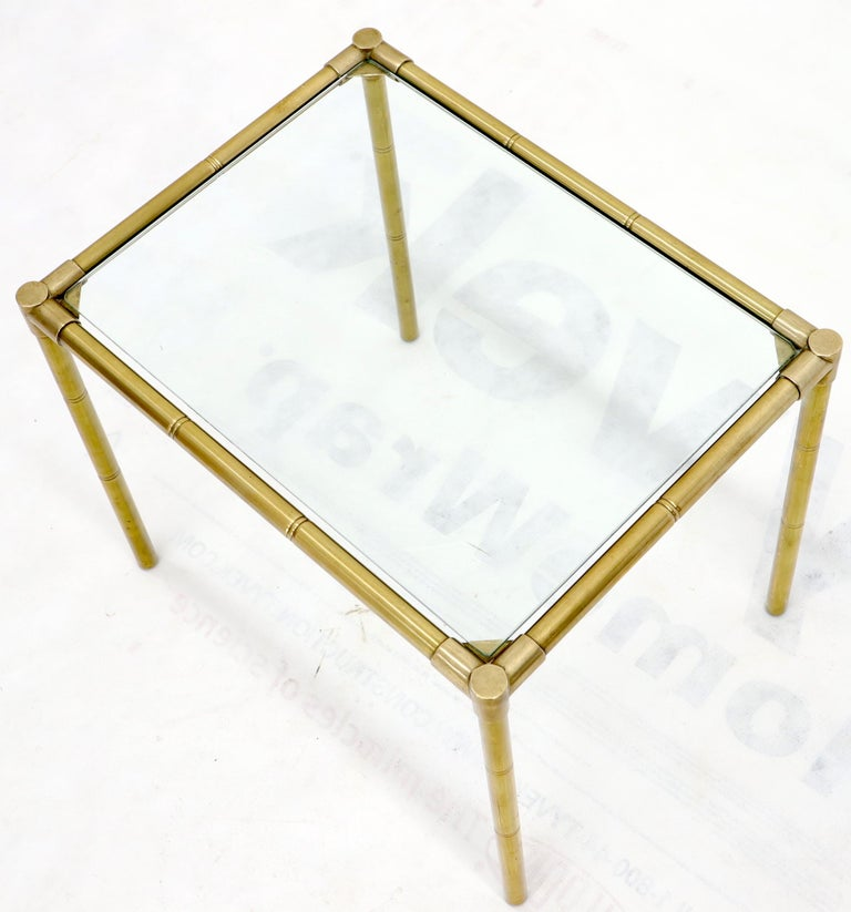 Quality Solid Brass Faux Bamboo Italian Mid Modern Nesting Tables For Sale 8