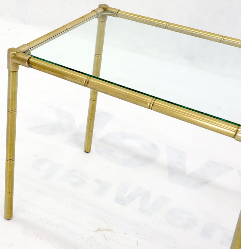Quality Solid Brass Faux Bamboo Italian Mid Modern Nesting Tables For Sale 9