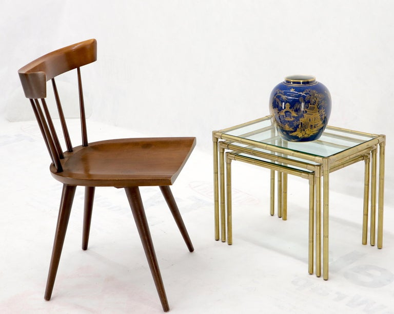 Set of 3 high machined quality heavy gage solid brass frames glass tops nesting side occasional tables. Italian Mid-Century Modern from circa 1960s.