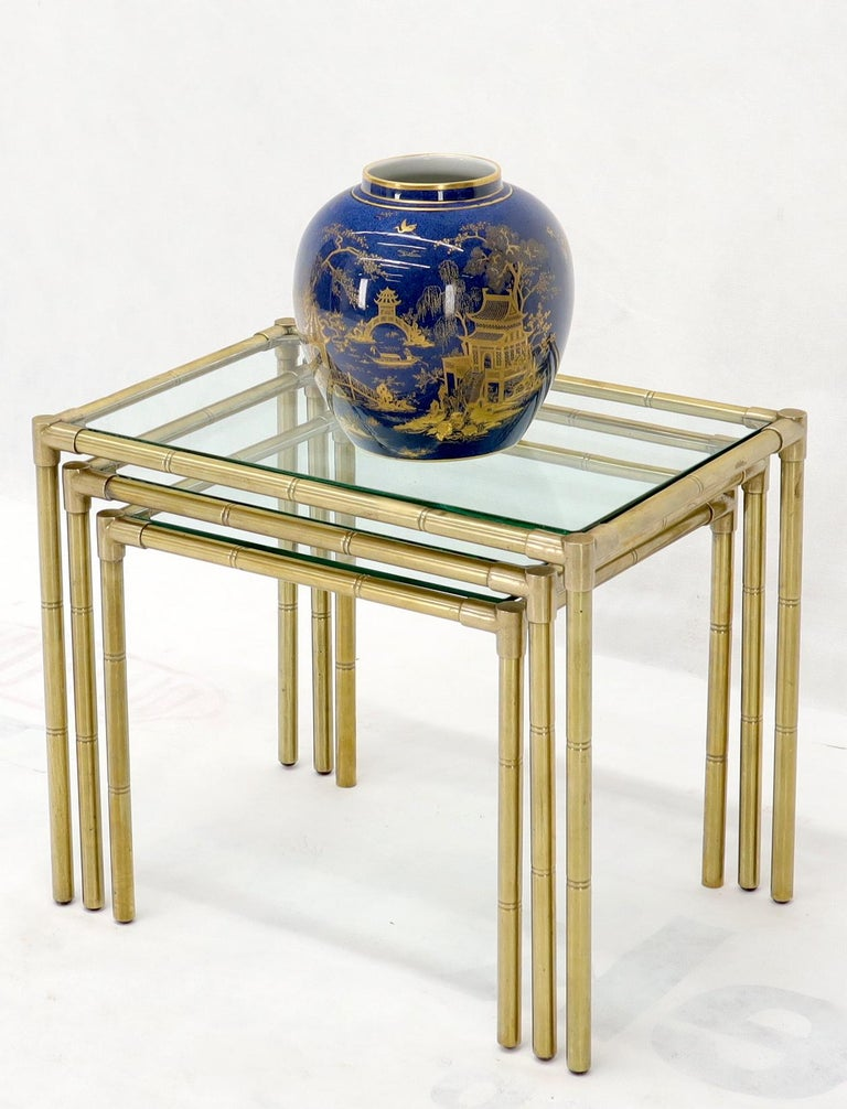 Mid-Century Modern Quality Solid Brass Faux Bamboo Italian Mid Modern Nesting Tables For Sale