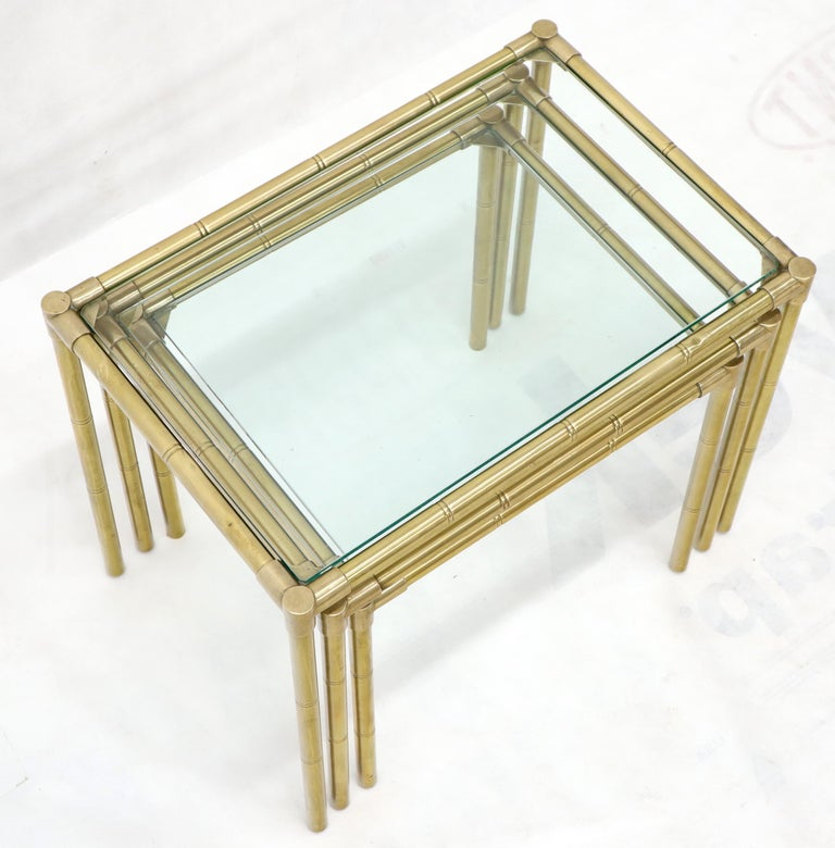 Polished Quality Solid Brass Faux Bamboo Italian Mid Modern Nesting Tables For Sale