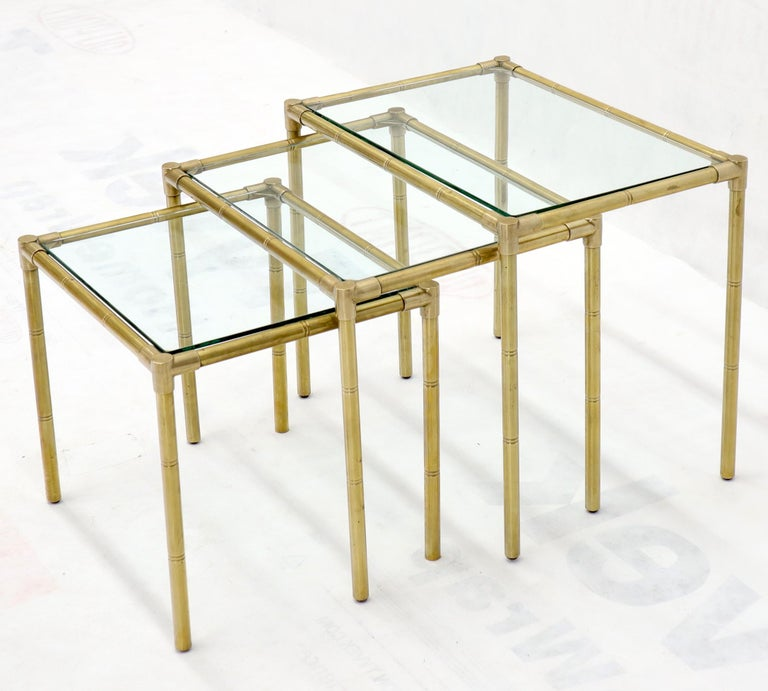 Quality Solid Brass Faux Bamboo Italian Mid Modern Nesting Tables In Excellent Condition For Sale In Rockaway, NJ