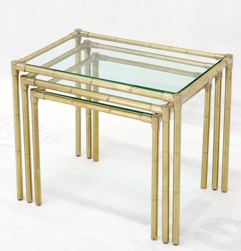 20th Century Quality Solid Brass Faux Bamboo Italian Mid Modern Nesting Tables For Sale