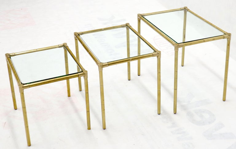 Quality Solid Brass Faux Bamboo Italian Mid Modern Nesting Tables For Sale 2