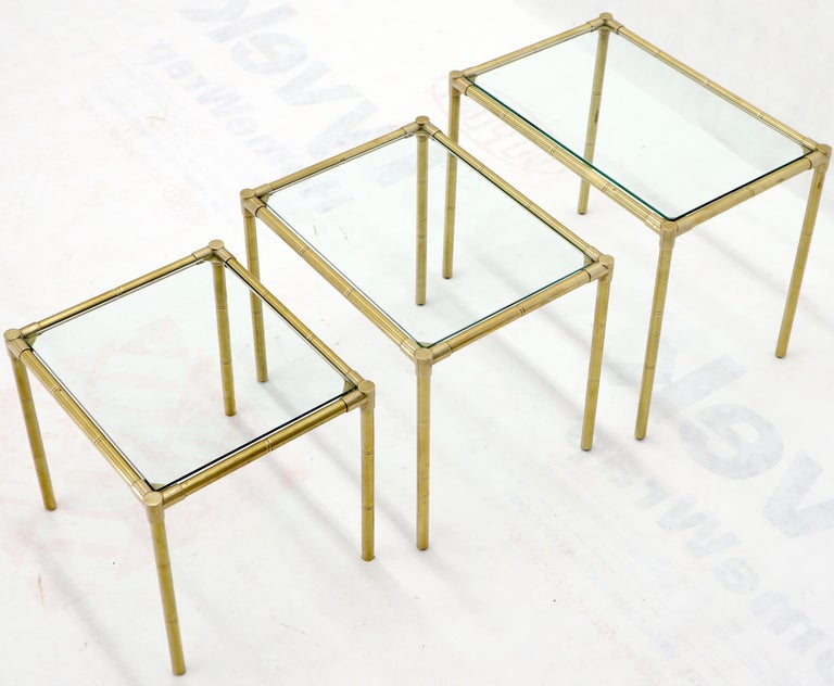 Quality Solid Brass Faux Bamboo Italian Mid Modern Nesting Tables For Sale 3