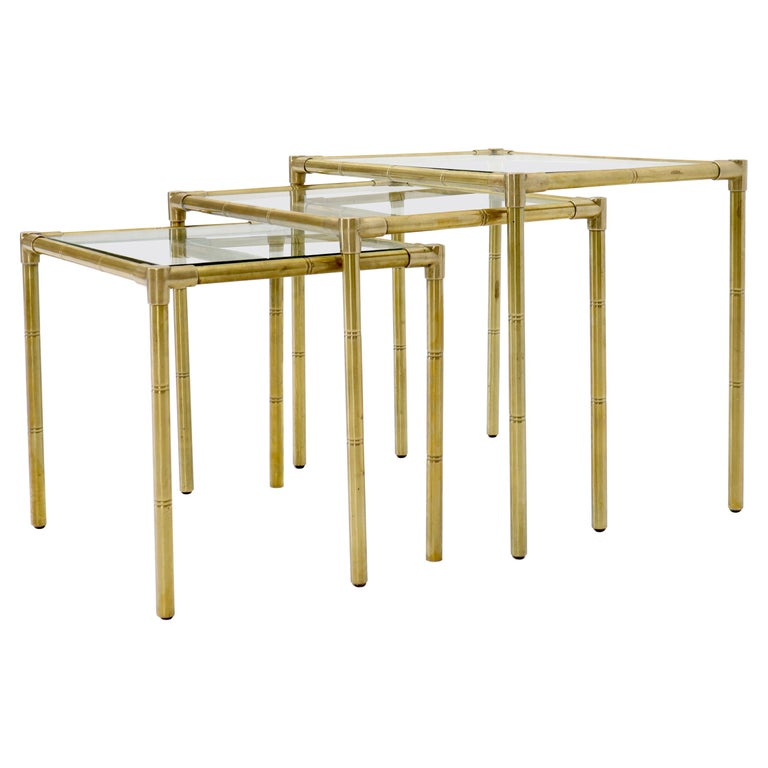 Quality Solid Brass Faux Bamboo Italian Mid Modern Nesting Tables For Sale
