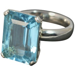 Quality Substantial Topaz Solid Platinum Statement Cocktail Ring