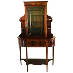 Quality Unusual Antique Edwardian Mahogany and Satinwood Inlaid Display Cabinet