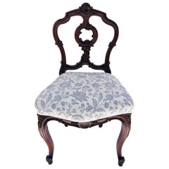 Quality Victorian Antique Carved Walnut Side/Desk Chair