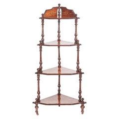 Quality Victorian Antique Inlaid Burr Walnut Four-Tier Corner Whatnot