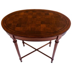 Quality Victorian Antique Oval Walnut Chequered Table
