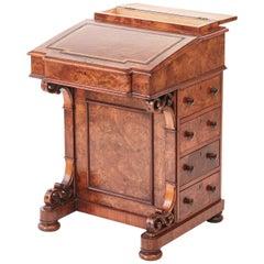 Quality Victorian Burr Walnut Freestanding Davenport