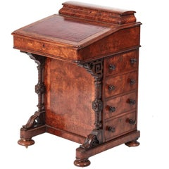 Quality Victorian Burr Walnut Inlaid Davenport