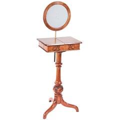 Quality Victorian Burr Walnut Shaving Stand