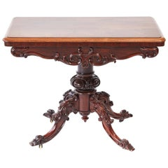 Quality Victorian Carved Hardwood Card Table