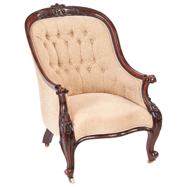 Quality Victorian Carved Mahogany Armchair For Sale at 1stdibs