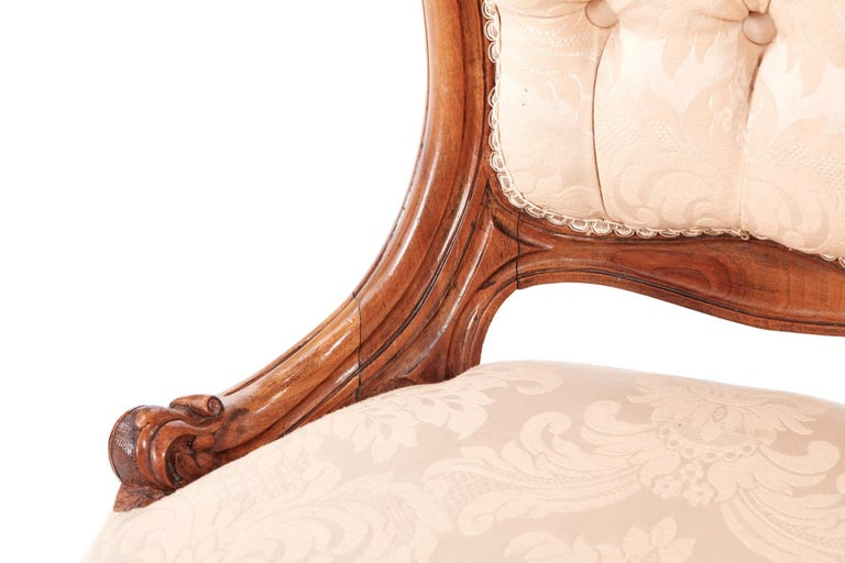 Quality Victorian Carved Walnut Ladies Chair For Sale 4
