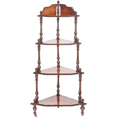 Quality Victorian Inlaid Burr Walnut Four-Tier Corner Whatnot