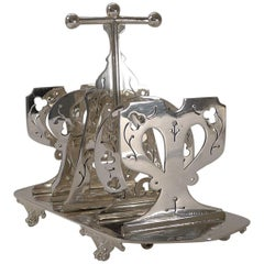 Quality Victorian Silver Plated Toast Rack, Reg. 1880