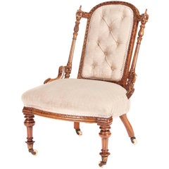 Quality Victorian Solid Walnut Carved Ladies Chair