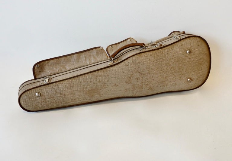 20th Century Quality Vintage Leather Trim Violin Carrying Case For Sale