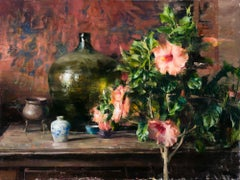 Arrangement with Hibiscus, Oil Painting