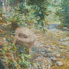 By Mountain Stream, Oil Painting