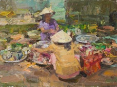 Fish Seller, Oil Painting