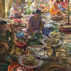 Hue Fish Market, Oil Painting