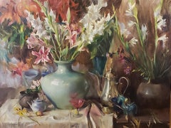 Lilies and Gladiolus , Oil Painting,  ,Consignment by Houston Estate,