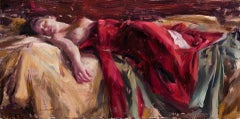 Reclining Figure with Red Silk, Oil Painting