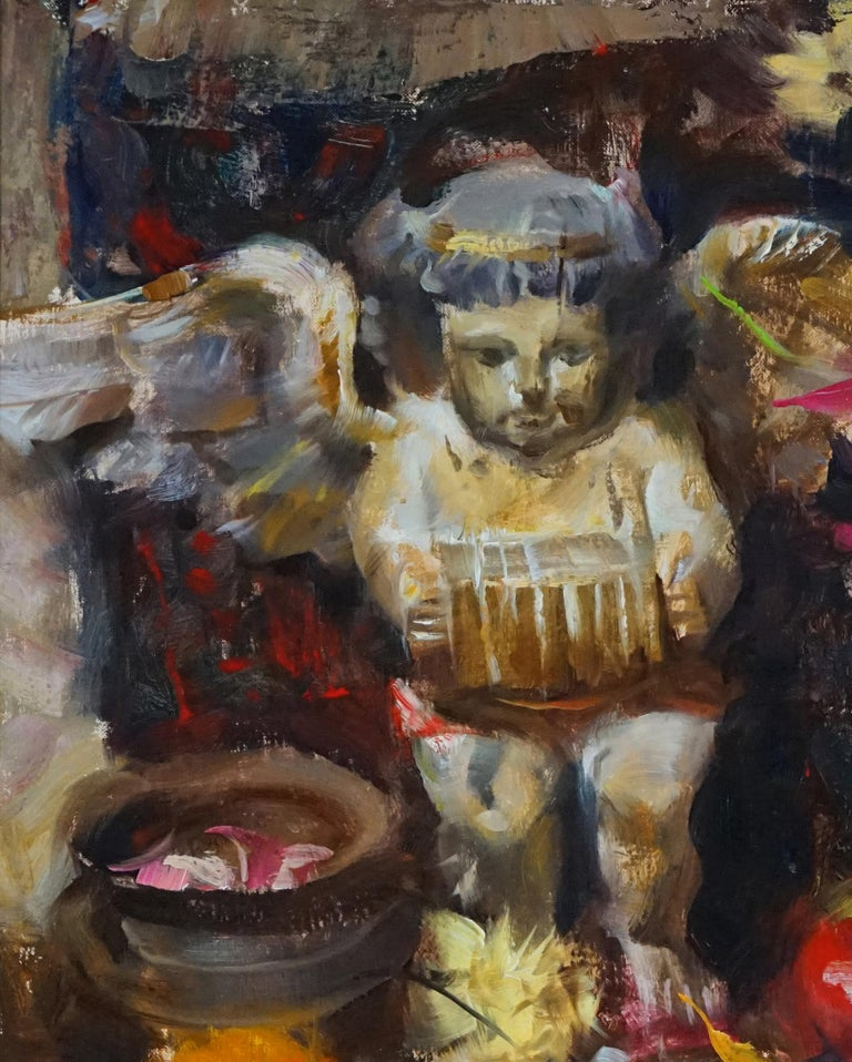 Spanish Angel, Oil Painting,  ,Consignment by Houston Estate, late 80s early 90s - Black Still-Life Painting by Quang Ho