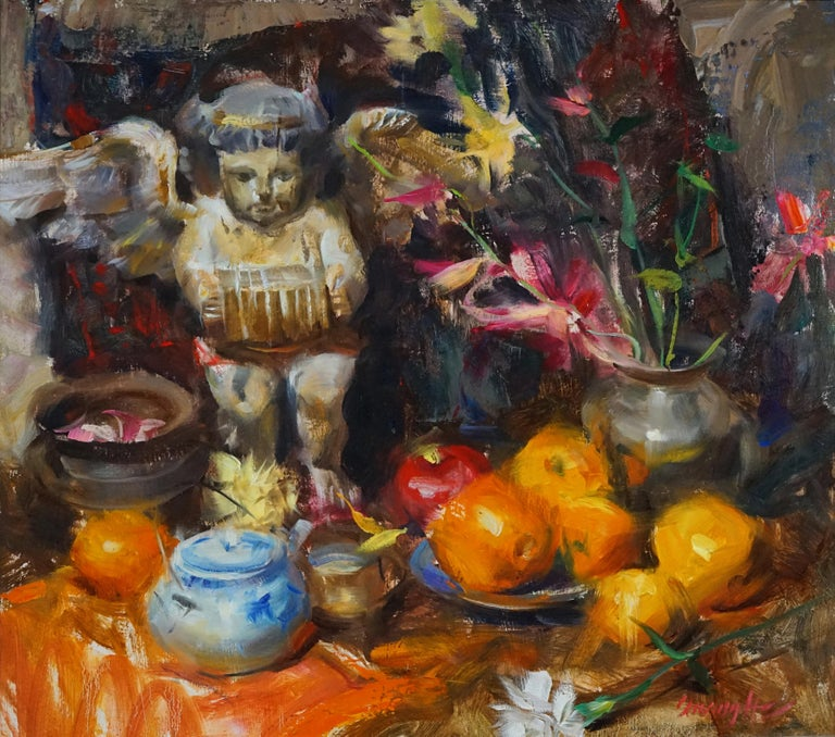 Quang Ho Still-Life Painting - Spanish Angel, Oil Painting,  ,Consignment by Houston Estate, late 80s early 90s