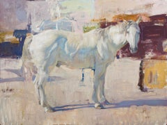White Horse with Abstraction, Oil Painting