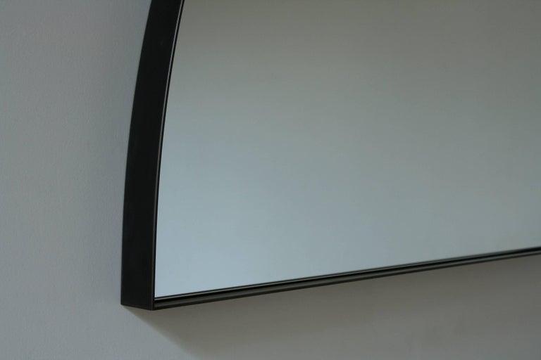 Minimalist Quarter, Handmade Contemporary Mirror in Blackened Steel For Sale