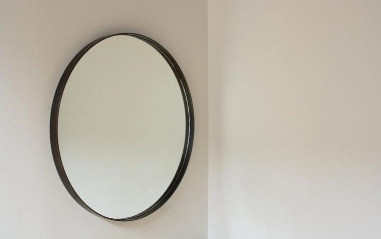 American Quarter, Handmade Contemporary Mirror in Blackened Steel For Sale
