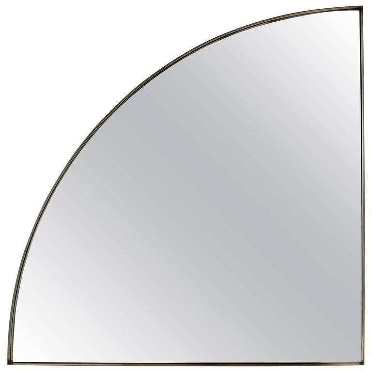 Quarter, Handmade Contemporary Mirror in Blackened Steel For Sale