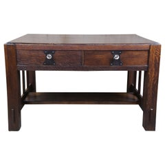 Quartersawn Oak Arts & Crafts Mission Library Table Desk