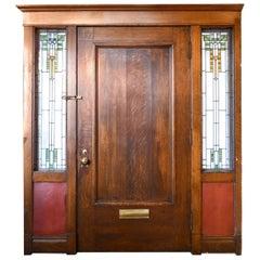 Quartersawn Oak Entry Door with Arts & Crafts Sidelite Windows