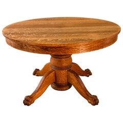 Quartersawn Oak Pedestal Claw Foot Table