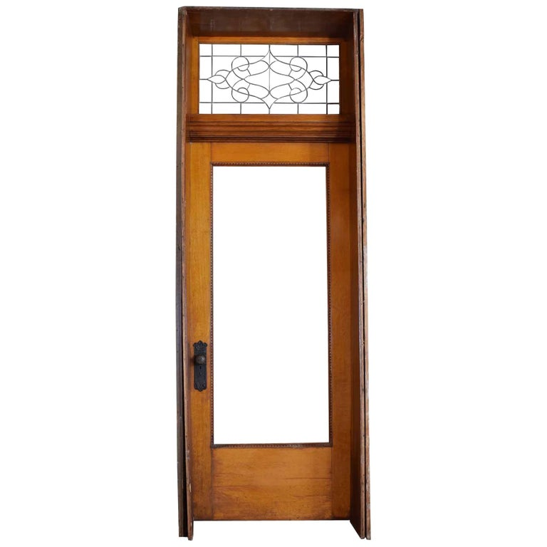 Quartersawn Oak Victorian Exterior Doors with Transom For Sale