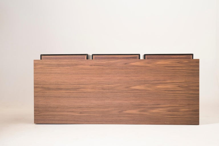 Italian Quartet, Leather and Canaletto Walnut Sideboard with Cubic Storage Modules For Sale