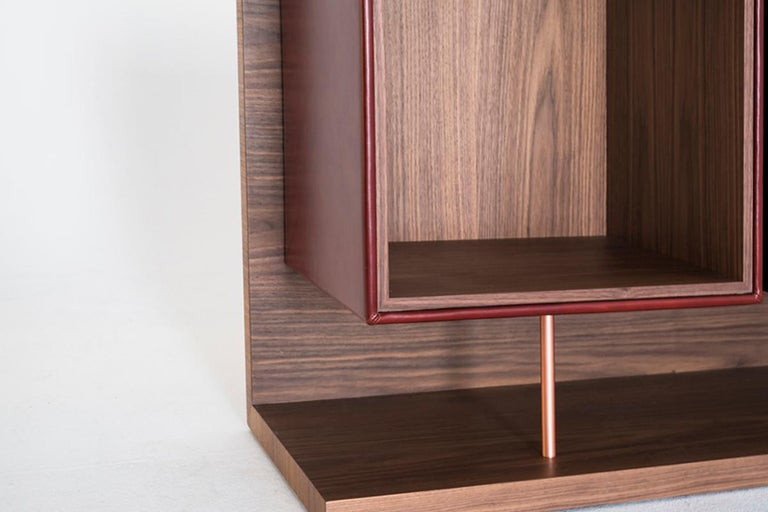 Brushed Quartet, Leather and Canaletto Walnut Sideboard with Cubic Storage Modules For Sale