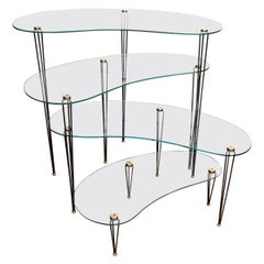 Quartet of Glass Kidney Shaped Tables