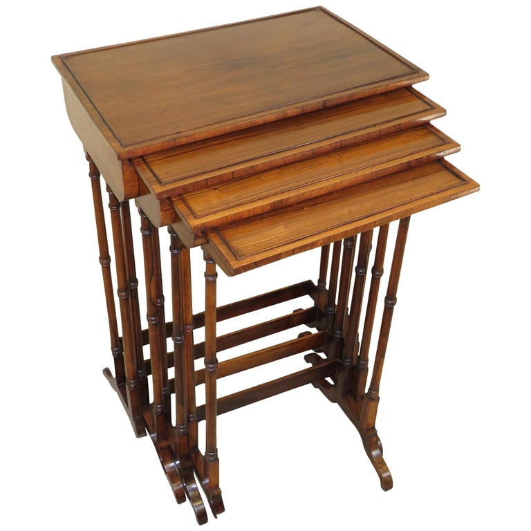 Quartetto Nest of Four Regency Rosewood Coffee Tables