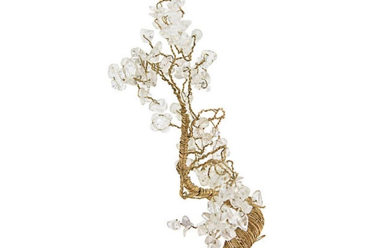 Quartz and Crystal Wire Tree Sculpture For Sale 2