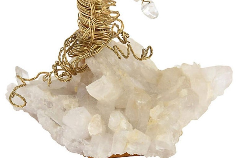 Quartz and Crystal Wire Tree Sculpture For Sale 4